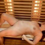 Going nude in the hotel's sauna