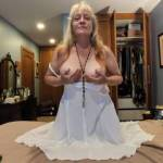 """How's this """"virginal dress"""" for you? This married woman is offering herself for your cock's delight."""