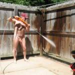 starting to power wash my fence. Hot day, did it all naked . Love it naked as much as possible.