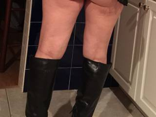My Wife in her boots - Anybody want to Spread her Cheeks?