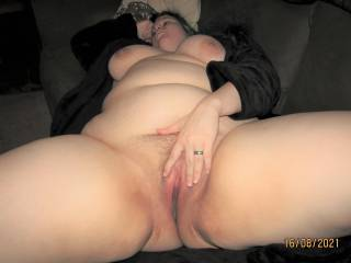 My wife showing off the goods spreading her plump pussy for the camera.