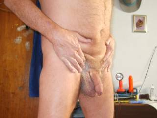 Looks great and beautiful uncut cock too!