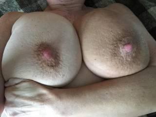 "Those BIG, suckable nipples ... look soooooo impressive!!!  (They ""coincide"" nicely with those BIG BOOBS you've got!)  8)  Sue XO"