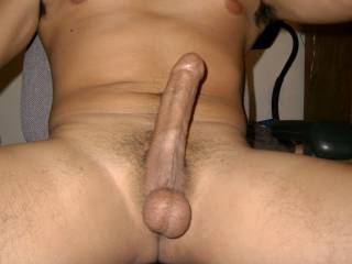 big cock and a nice pair of freshly shaved balls for ladies only.