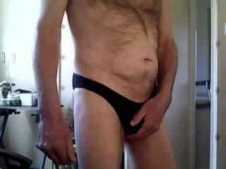 posing in wife\'s black panties