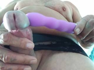 Hi this is me in my wife's panties playing with her vibrator