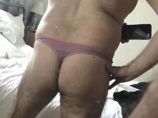 Tucked him away in pink thong for Easter shopping trip Decided to show rear view and test mirror shot! May enter this months competitions! What do you think??