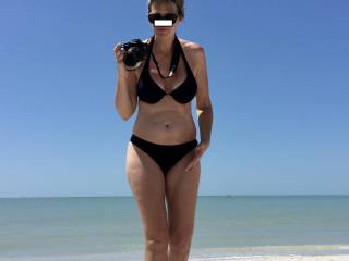 Lots of staring and drooling as my mature babe is on the beach!