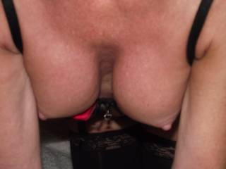 Would love to have those dangling over my lips and tongue, while you ground your pussy down hard, riding my swollen, horny cock....