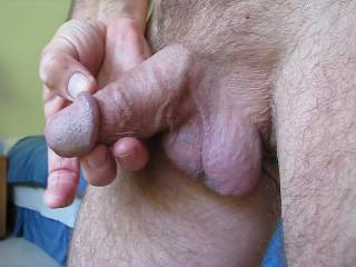 Mr. F puts on a show for me, playing with his balls and producing some precum!  From Mrs. F