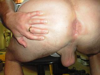 bent over showing my sahaved ass and balls