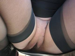Another pic of sally out in public showing off her wonderful commando pussy!