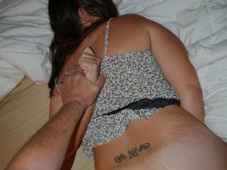 He loves to fully dominate me and I love some pain with my pleasure. I love it when he holds my arms behind my back while he fucks my ass. Do you want to fuck me in the ass too?