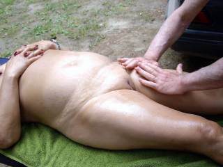All the guys here are so helpful, one guy shaves my pussy, one applies suntan lotion all over my naked body, and every guy gives me a body massage a few times a day. And I get to try out the beds in different tents and RVs every day.