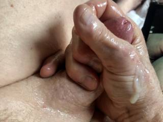 Semen drenched hand.