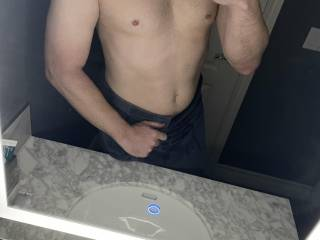 All clean, yet still feeling plenty dirty.  I\'d much prefer seeing your tits bouncing in the mirror.