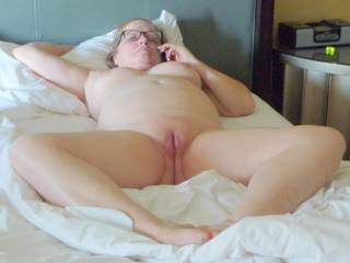 my chubby fat wife naked in hotel showing her big belly, pussy, and tits