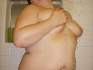 Jen getting clean in the shower.