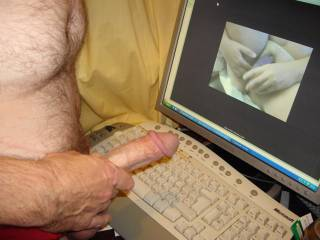 Hubby was getting over excited watching the lovely Mrs Dibs playing ....doesn\'t he have a lovely cock?