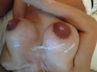 A really huge load of hot cum... Her gorgeous tits and nipples deserve that till the last drop...