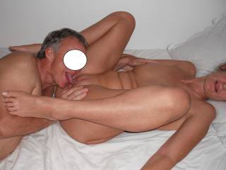 Our swinger friend licks and tongues my pussy, when he came around for a threesome with us.