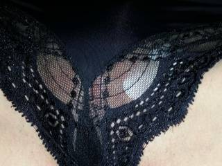 Pussy shot with sexy black panties.