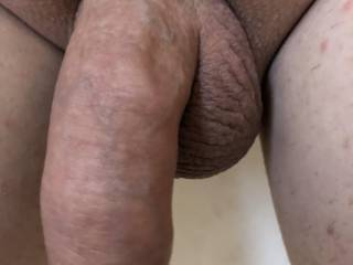 Close up freshly shaved uncut cock