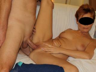 Perfect, she likes to spread and open her pussy for this huge cock. for sure she enjoys.