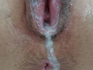 After getting pussy blowed out and filled with big load of Cum