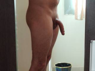 mirror view of a curved dick