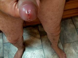 Almost hard, leaking sweet precum from looking on here