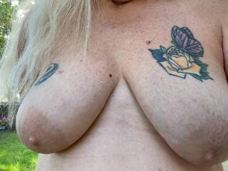 Love having some outdoor play time, were you watching through that fence? Love showing off and being seen, would you come over and suck on these big nipples for me