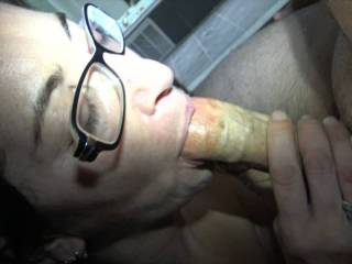 Mia broke her glasses but that doesn\'t stop her from sucking my cock and eating my cum
