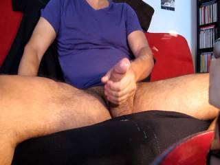 Nice long cock...wow.  I like how you shoot cum.. that was.so hot watching you touch that gorgeous cock and ejaculating like that.  Watching you cum made my stomach muscles quiver and my pussy twitch.  I'll be watching your videos a lot.  MILF K