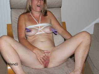 You look so HOT like this. I love watching you playing with your pussy.