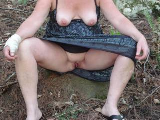 Wifes nice tits and wet pussy waiting for a good fuck.