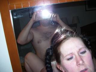 I love to fuck her like this in the bathroom. Sometimes she takes the small cosmetic mirror so we can both watch my cock thrusting into her hot snatch!