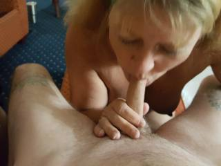 friends wife still sucking me after i had came in her mouth....which she gladly swallowed.