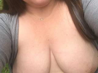 Scott ordered another outdoor topless pic. The red lipstick was also a requirement. How did I do? Do I look fuckable and suckable? I would like to hear what you like best about this pic. We are looking forward to the next time we can have someone join us!