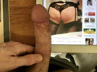 I love seeing maxs1985 show me his long hard young cock next me, beautiful suckable head. Love how hard he gets looking at me.
