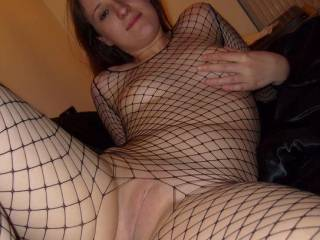 Oh yeah! ... outstanding pic .. very sorry to hear that shaving has left her itchy, but I want her to know that it was worth it. Her spread legs and smooth pussy and fishnets look excellent and are a real turn on. Goes in my All Time Favorites collection.