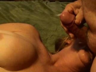 Frame five of eight of me blasting a shot of cum about 3 feet to my girlfriends knees while she is sucking and tugging on my balls. Hadn\'t seen her for a week and I was backed up to say the least. Do you like to see the cum fly????