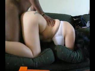 another dogystyle vid? god u guys are amazing i cannot get enough of this, this is why i believe your the best interracial couple here  the whole scene is perfect, her beatiful white bra she wears as her thick pussy is pounded by the thick black cock, u can tell by her movements she really wants that cock as deep as possible in her ass the way the couch vibrates to the rythm of the fucking is also incredible, i'd love to fuck her in that position so raw like the husband   Anyway, please try and respond to our comments as i love seeing your feedback