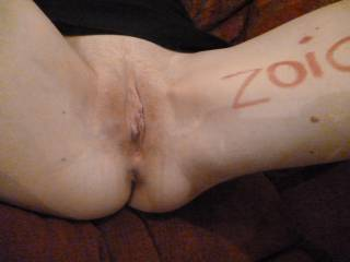 lipstick, legs wide open and pussy waiting to be fucked