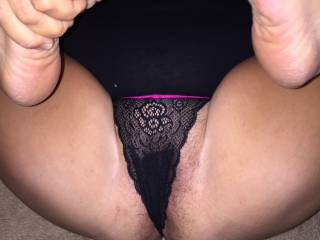 I'd like to suck on her toes while I slip my cock inside her panties