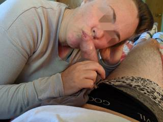 Cock kissing with her panties wrapped around