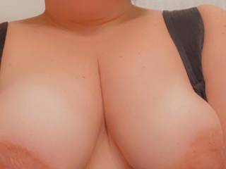 Would you gently kiss my lips while caressing my breasts? 💋 Tell me how horny you are now😉😘
