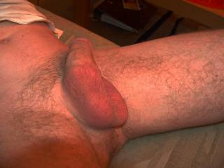 My balls, smooth and shaved, waiting for a massage.