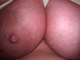 a shot of her large areolas, which are 3+ inches across, and her nice thick nipples.