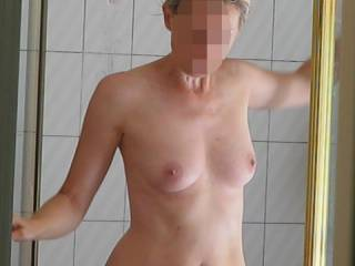 My wife stepping out of the shower, on the way to fucking me--you like??!!....
